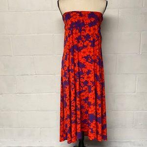 Lularoe Maxi Skirt L Orange Purple Floral Hawaiian